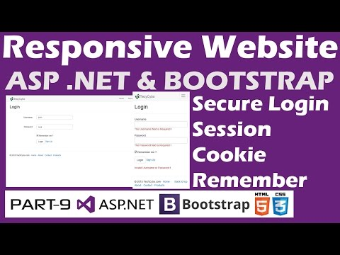 Responsive Website - ASP .NET & Bootstrap - Part 9 - Secure Login-Session,Remember Password-Cookie