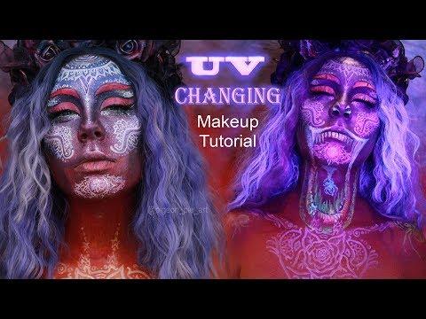 UV hidden design - Blacklight makeup tutorial for Halloween - Sunset Mandalas