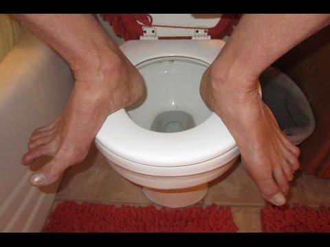 How to Squat on Toilet!  Caution Heavy People!  Avoid WEAK Toilets!