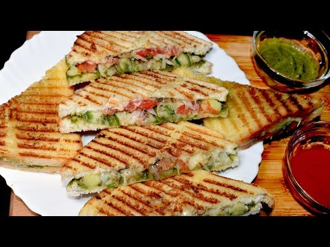 Vegetable Sandwich - Grilled Vegetable Cheese sandwich - Kids Lunch Box idea