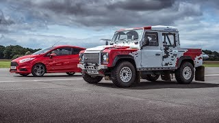 Bowler Defender V6 vs Ford Fiesta ST - Top Gear: Drag Races