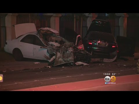 Paramount Collision Leaves 2 Cars Mangled, Street Racing Possible Cause