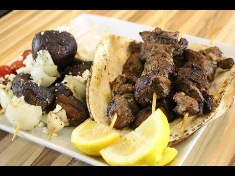 Greek Style Lamb Souvlaki with Grille Mushroom Skewers