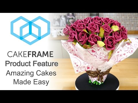Using The Cake Frame To Construct A 3D Bouquet Of Flowers Cake