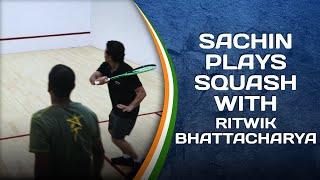 Sachin Tendulkar plays squash with Ritwik Bhattacharya   #SportPlayingNation
