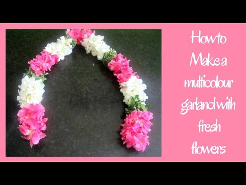 How to tie fresh flower garland || Arali with Marugu garland || Simple Method to make garland