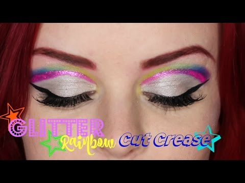 Glitter Rainbow Cut Crease | Bold and Colorful Makeup Look