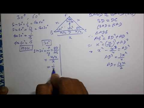 30 and 60 Degrees | GEOMETRICAL PROOF | Trigonometric Ratios | sin cos tan |