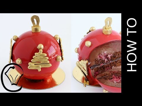 Chocolate and Raspberry Mirror Glaze Christmas Ornament Bauble Entremet