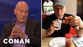 Download Sir Patrick Stewart Debunks His Pizza-Eating Rumor - CONAN on TBS Video