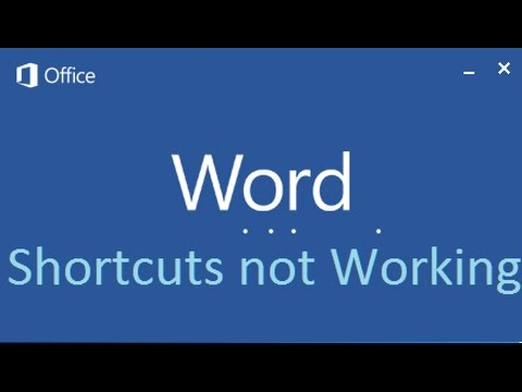 Keyboard shortcuts not working in Microsoft Office Word 2013