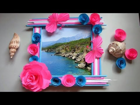 Make Awesome Photo Frame Out Of Newspaper Sticks | Diy-Newspaper Paper-Crafts | DIY Wall decor frame