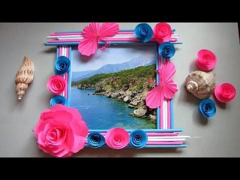 Make Awesome Photo Frame Out Of Newspaper Sticks | Diy-Newspaper Paper-Crafts | DIY Wall decor frame