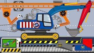 Captain America Excavator  | Toy Factory | Video for Kids - Super Koparka