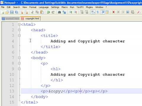 How to Create Web Pages Using HTML : How to Add Copyright Symbols to a Web Page
