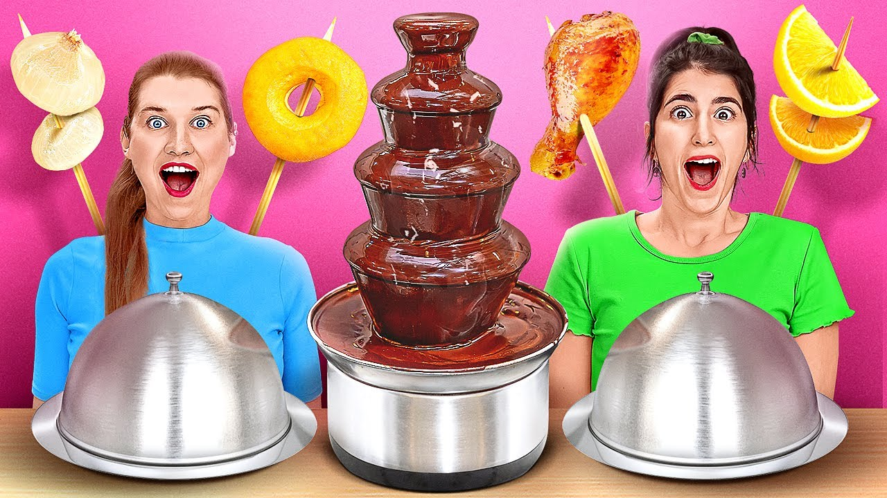 CHOCOLATE FOUNTAIN FONDUE CHALLENGE    Chocolate VS Real Food For 24 Hours By 123 GO! CHALLENGE