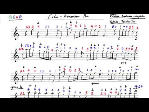 Coco Remember Me Violin Sheet Music w/ Violin Tabs Play Along