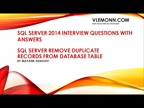 SQL Server 2014 Remove Duplicates From Database Table