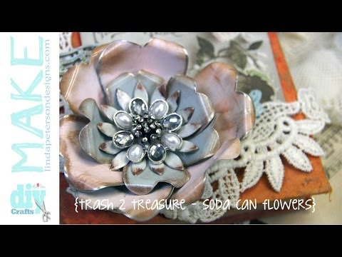 Upcycled Soda Cans -Vintage Metal Flowers - Spellbinders Mixed Media