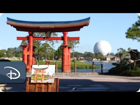 Sketches From The Park: Disney Artist Will Gay Paints 'Japan's Gate' at Epcot