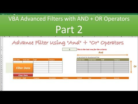 VBA Advanced Filter And Or Operators - Part 2