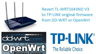 Revert TL-WR841N v9 from DD-WRT or OpenWrt to OEM Factory