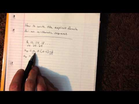 How to write the explicit formula for an arithmetic sequence