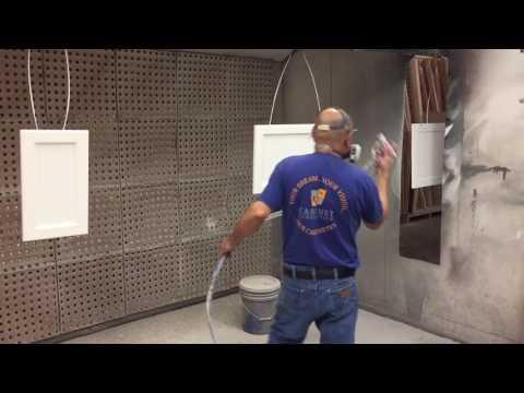 Spraying cabinet door painted