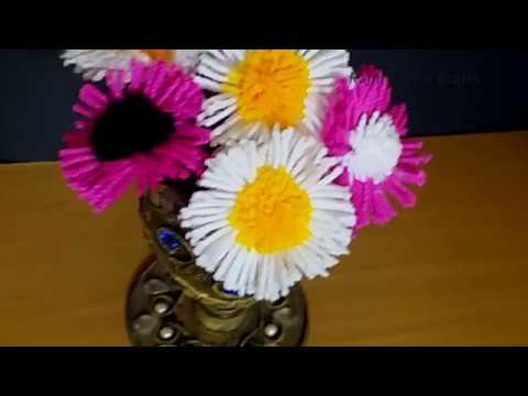 How to make Easy Woolen Flowers - Handmade woolen thread flower making idea