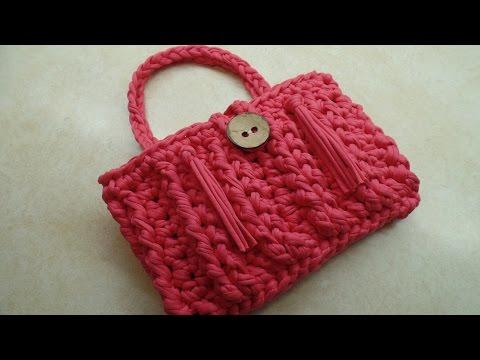 CROCHET How To #Crochet T Shirt Yarn Bag Purse Featuring Wool and The Gang Yarn #TUTORIAL #310 LEARN