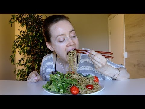 ASMR Whisper Eating Sounds | Spaghetti & Pasta Salad With Green Pesto