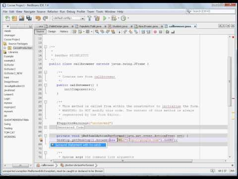 How to open a web address from java, jButton