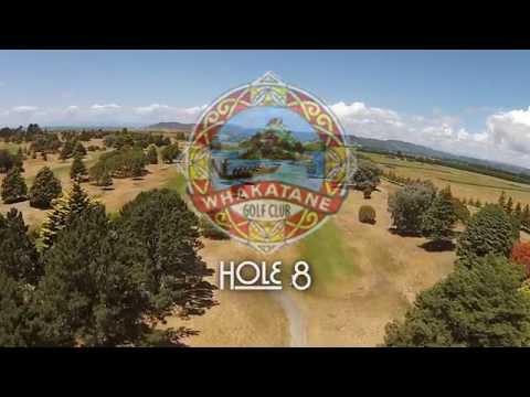 WHAKATANE GOLF COURSE -  Hole 8 - Flyover & PRO TIP