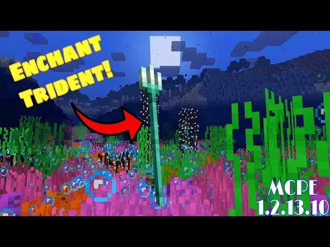 ENCHANT TRIDENT IN MINECRAFT BEDROCK EDITION 1.2.13.10 // ALL Trident Enchantments !!