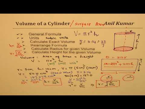 Volume of Cylinder Formula and Calculate height or Radius