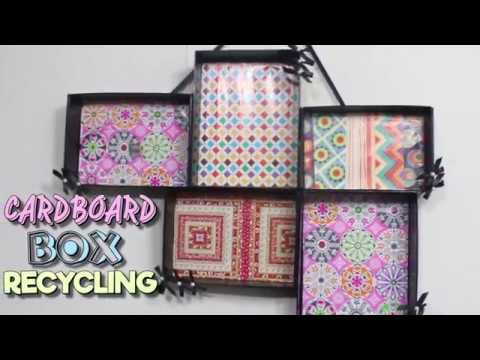 Cardboard Box Recycle | Upcycle old shoe boxes into Easy Wall Art Decor