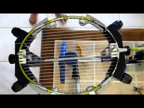 Badminton racket stringing video tutorial.