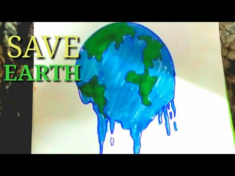 Easy drawing of global warming ||Save earth || STEP BY STEP.