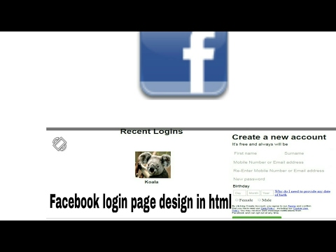 Facebook login page design in html/CSS