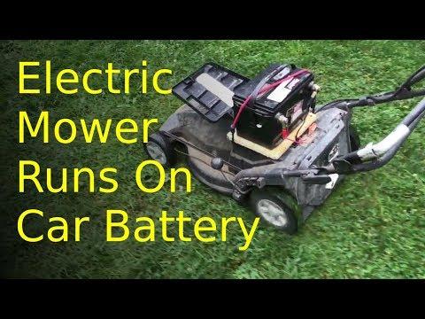 GREEN!, GREEN!, GREEN! lawnmower runs on old car battery