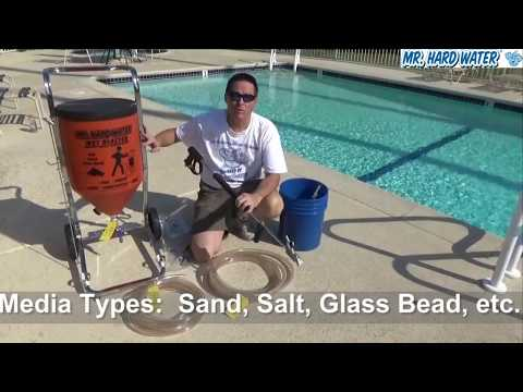 Learn about the Standard Hopper System Wet Blaster for Pool Tile Cleaning