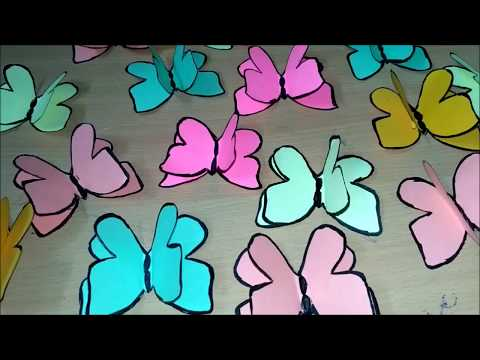How to make 3D butterfly with paper for room decor | wall decor