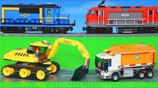 Lego Police Cars, Train, Excavator, Concrete Mixer & Fire Truck Toy Vehicles for Kids