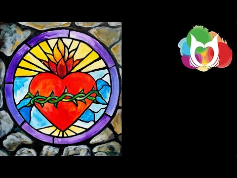 Stained Glass Stone window Step by Step Acrylic Painting Beginners