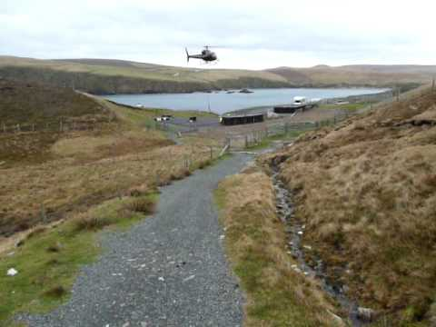 Helicopter movement on Unst Shetland
