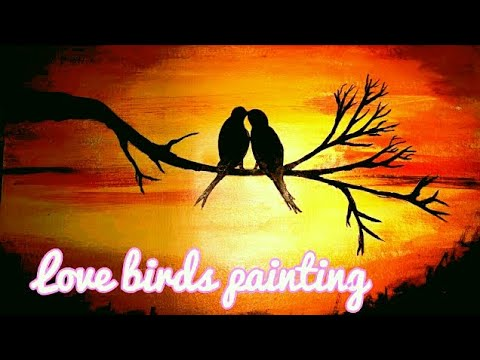 valentine day special LIVE 3D love birds acrylic painting step by step|||MUST WATCH|||