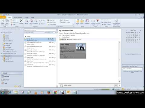 Microsoft Outlook 2010 Create Contacts from an Electronic Business Card