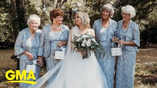 This bride had 4 grandmothers in wedding party