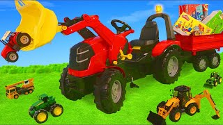 Tractor Toy Vehicles Ride On, Cars, Excavator, Trains & Fire Truck Surprise Toys for Kids
