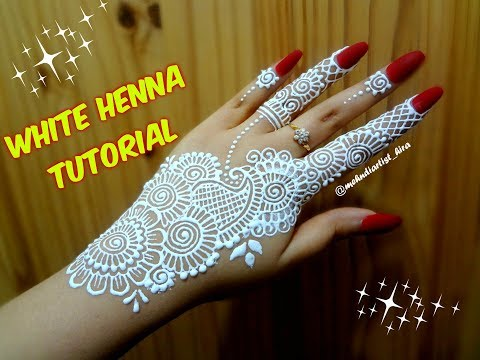 How to apply easy simple strip(bail) WHITE henna mehndi designs on hands for eid weddings tutorial